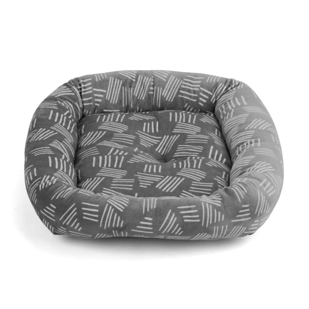 "EveryYay Snooze Fest Grey Printed Rectangle Lounger Cat Bed, 19"" L X 16"" W X 3.5"" H - Carousel image #1"