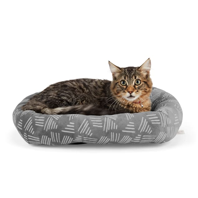 """EveryYay Snooze Fest Grey Printed Rectangle Lounger Cat Bed, 19"""" L X 16"""" W X 3.5"""" H - Carousel image #1"""