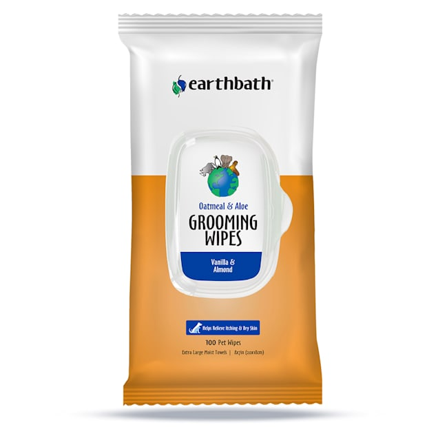 Earthbath Oatmeal & Aloe, Vanilla & Almond Grooming Wipes for Pets, Count of 100 - Carousel image #1