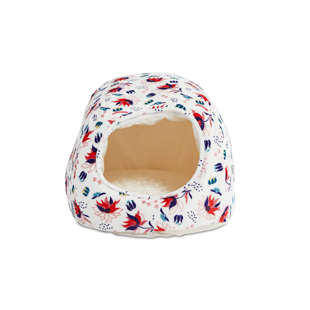 """EveryYay Snooze Fest Ivory Floral Egg Cave Cat Bed, 16"""" L X 12"""" W X 10"""" H - Carousel image #1"""