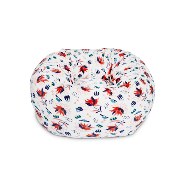 "EveryYay Snooze Fest Ivory Floral Snuggler Ball Cat Bed, 18"" L X 18"" W X 9"" H - Carousel image #1"