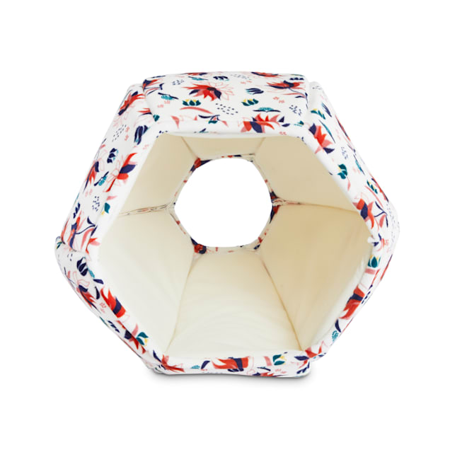 """EveryYay Snooze Fest Ivory Floral Bubble Cave Cat Bed, 15"""" L X 15"""" W X 11"""" H - Carousel image #1"""