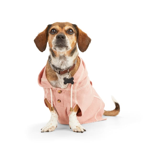 Reddy Pink Waffle-Knit Dog Hoodie, X-Small - Carousel image #1