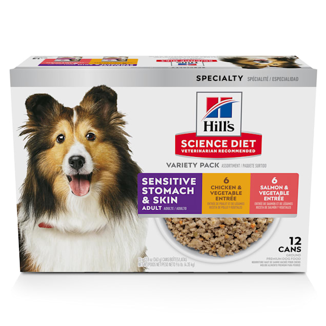 Hill's Science Diet Adult Sensitive Stomach & Skin Chicken and Salmon Wet Dog Food Variety Pack, 12.8 oz., Count of 12 - Carousel image #1