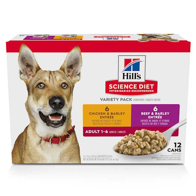 Hill's Science Diet Adult Chicken and Beef Canned Wet Dog Food Variety Pack, 13 oz., Count of 12 - Carousel image #1