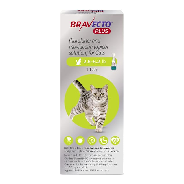 Bravecto Plus Topical Solution for Cats 2.6-6.2 lbs, 2 Month Supply - Carousel image #1