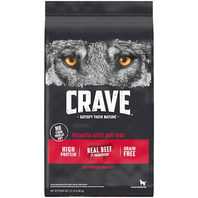 Crave Grain Free High Protein Real Beef Premium Adult Dry Dog Food, 22 lbs. - Carousel image #1