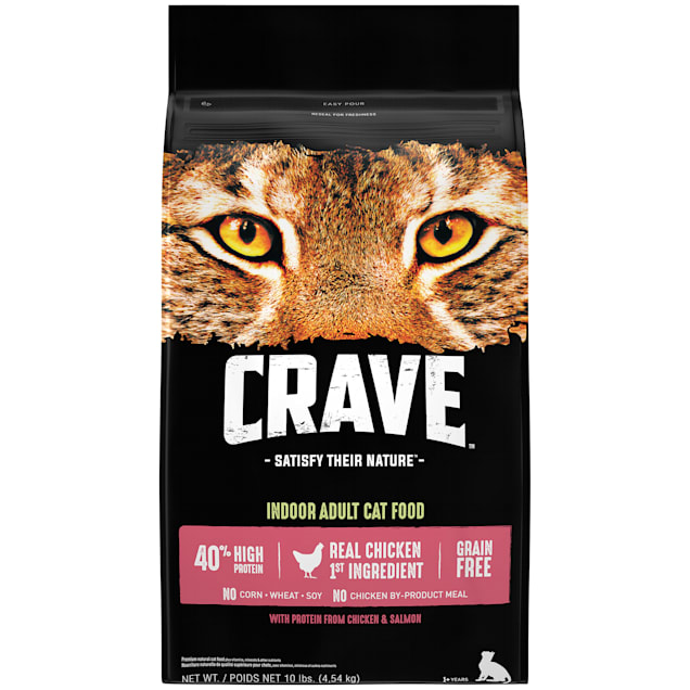 Crave Grain Free Protein Chicken & Salmon Adult Dry Cat Food, 10 lbs. - Carousel image #1