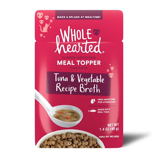 WholeHearted Tuna & Vegetable Recipe Broth Flavor-Boosting Wet Cat Meal Topper, 1.4 oz., Case of 12 - Carousel image #1