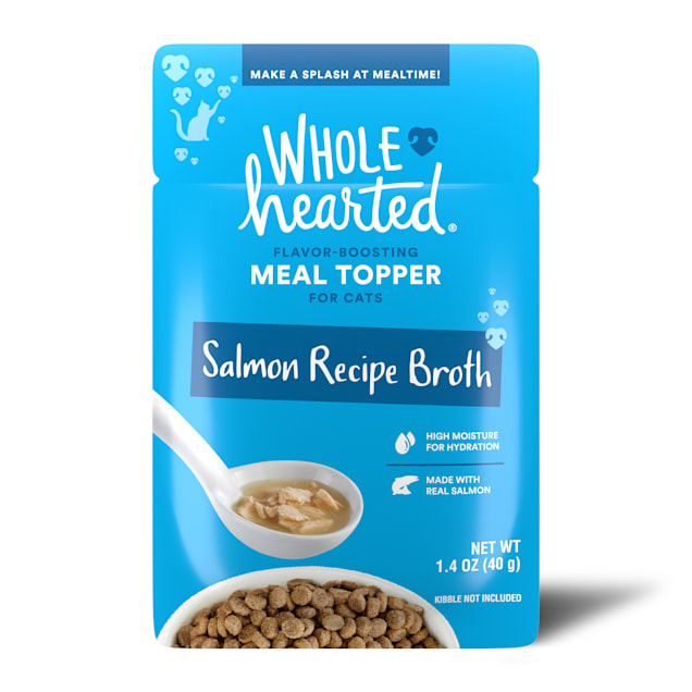 WholeHearted Salmon Recipe Broth Flavor-Boosting Wet Cat Meal Topper, 1.4 oz., Case of 12 - Carousel image #1