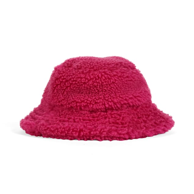 YOULY The Throwback Pink Faux-Shearling Dog Bucket Hat, X-Small/Small - Carousel image #1