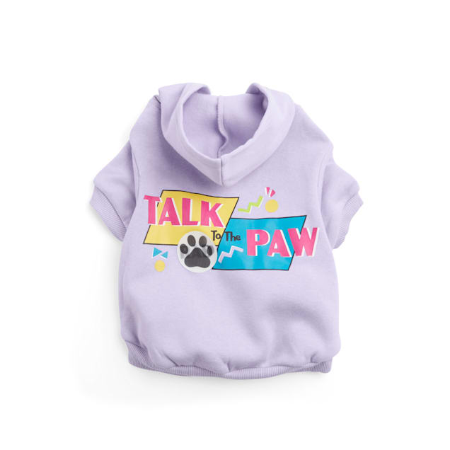 YOULY The Throwback Purple Talk To The Paw Dog Hoodie, Large - Carousel image #1