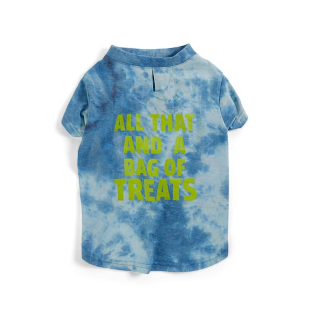 YOULY The Wanderer Blue Tie-Dye Dog All That And A Bag Of Treats Dog T-Shirt, Small - Carousel image #1