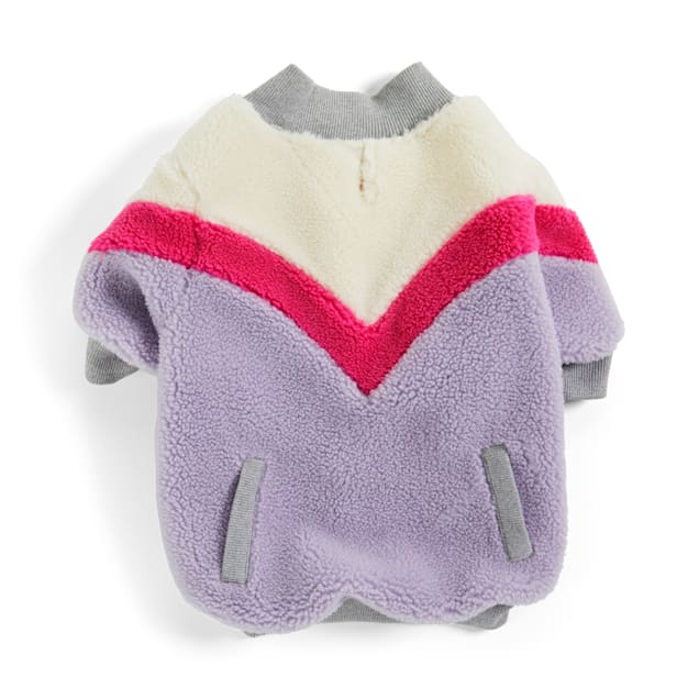 YOULY The Student Pink Colorblocked Faux-Shearling Crewneck Dog Sweater, XX-Small - Carousel image #1