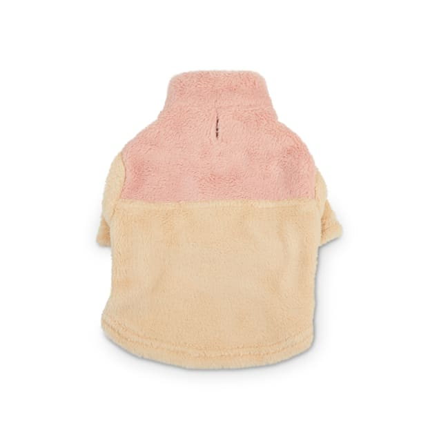 Reddy Pink & Olive High-Pile Fleece Dog Sweater, X-Small - Carousel image #1