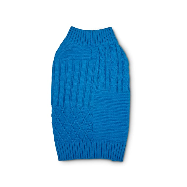 YOULY The Poet Blue Mixed Cable-Knit Dog Sweater, XX-Small - Carousel image #1