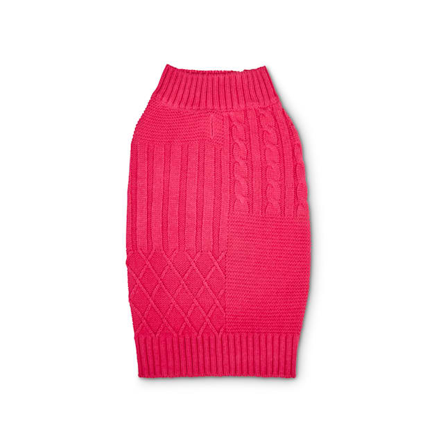 YOULY The Poet Pink Mixed Cable-Knit Dog Sweater, XX-Small - Carousel image #1