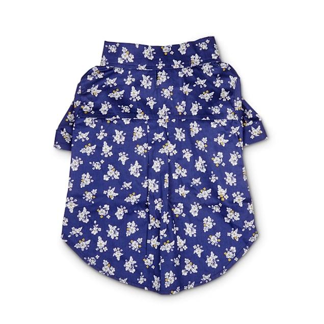 Bond & Co. Blue & White Floral-Print Poplin Dog Shirt, Large - Carousel image #1
