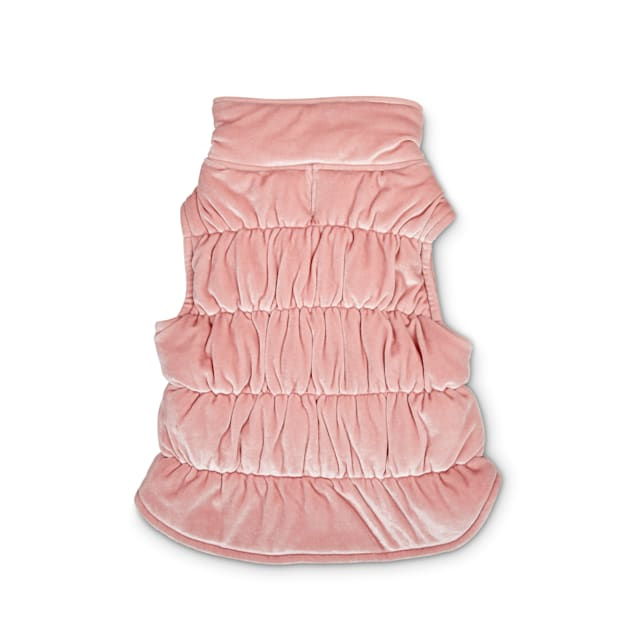 Bond & Co. Pink Quilted Velour Dog Vest, XX-Small - Carousel image #1