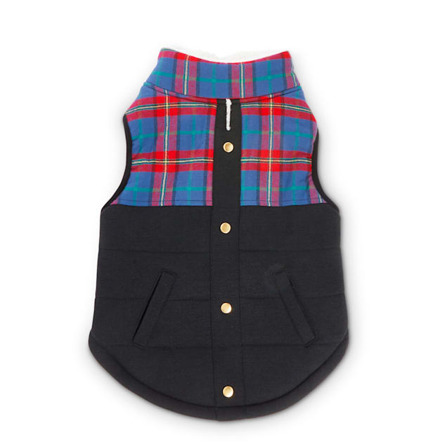 Bond & Co. Plaid & Black Colorblocked Dog Vest, XX-Small - Carousel image #1