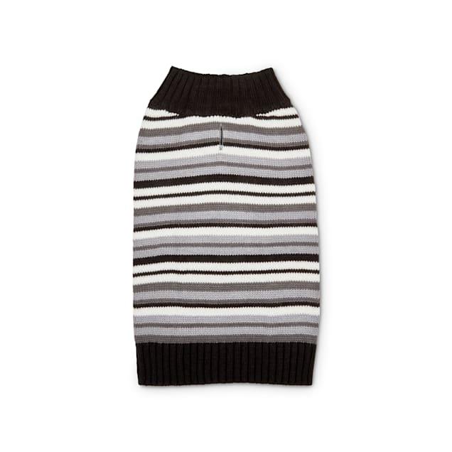 Bond & Co. Black & Grey Striped Knit Dog Sweater, Large - Carousel image #1