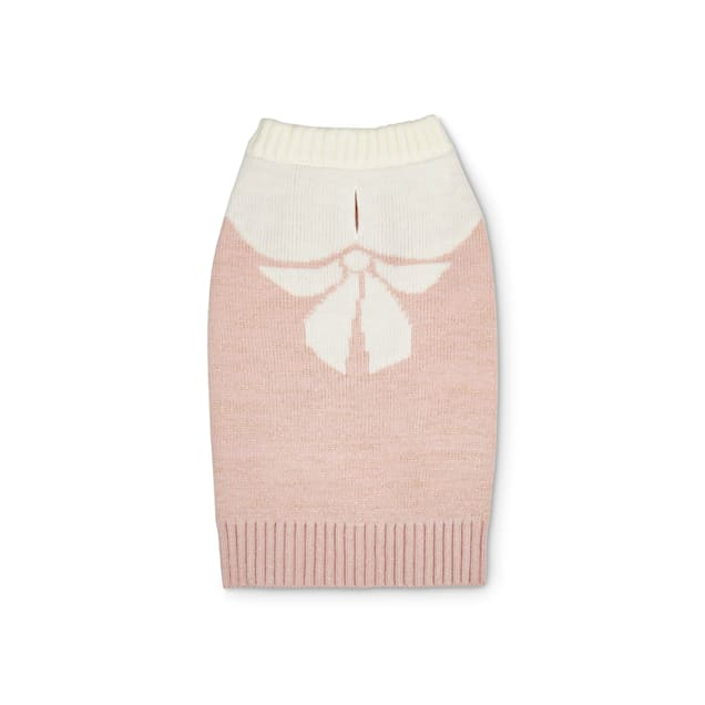 Bond & Co. Pink & Cream Intarsia Bow Knit Dog Sweater, Large - Carousel image #1