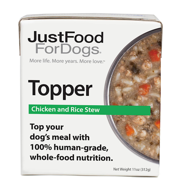 JustFoodForDogs Topper Chicken & Rice Stew Wet Dog Food, 11 oz., Case of 12 - Carousel image #1