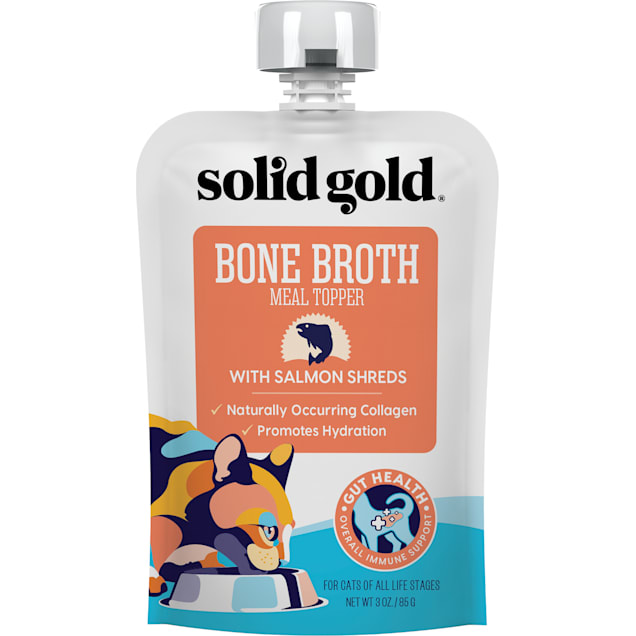Solid Gold Bone Broth with Salmon Shreds Wet Cat Food, 3 oz., Case of 12 - Carousel image #1