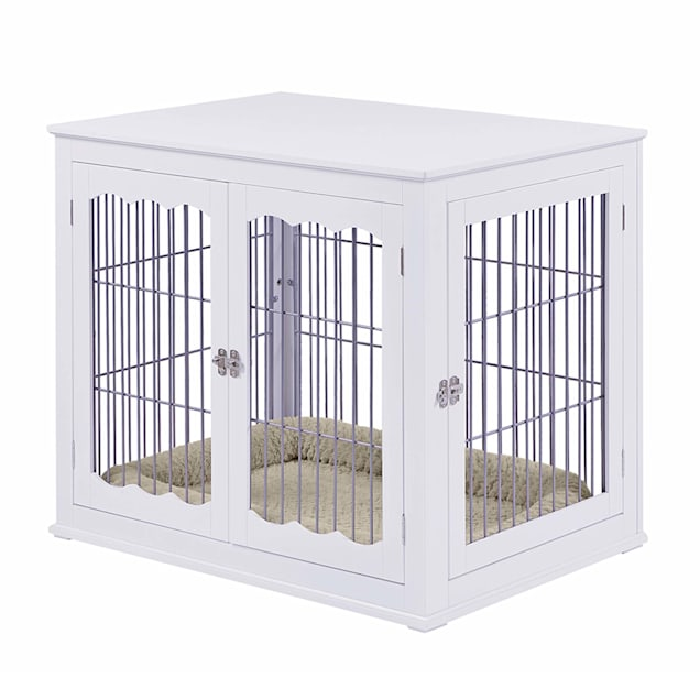 """UniPaws Wooden Wire White Double Door Dog Kennel with Pet Bed, 38"""" L X 27"""" W X 31"""" H - Carousel image #1"""