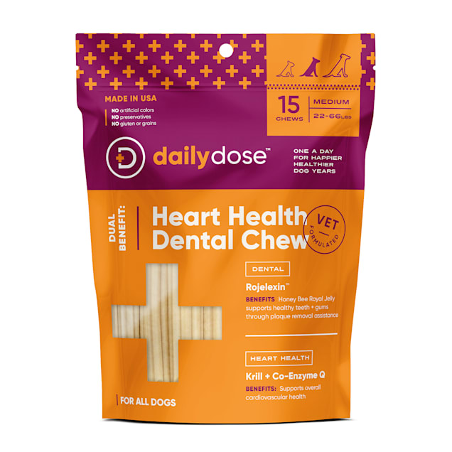 dailydose Dual Benefit Dental + Heart Health Chews for Medium Dogs, 11.64 oz., Count of 15 - Carousel image #1
