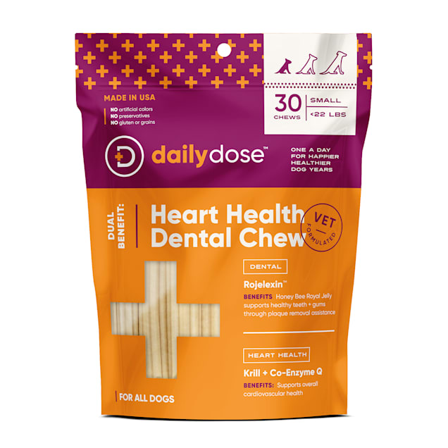dailydose Dual Benefit Dental + Heart Health Chews for Small Dogs, 11.9 oz., Count of 30 - Carousel image #1