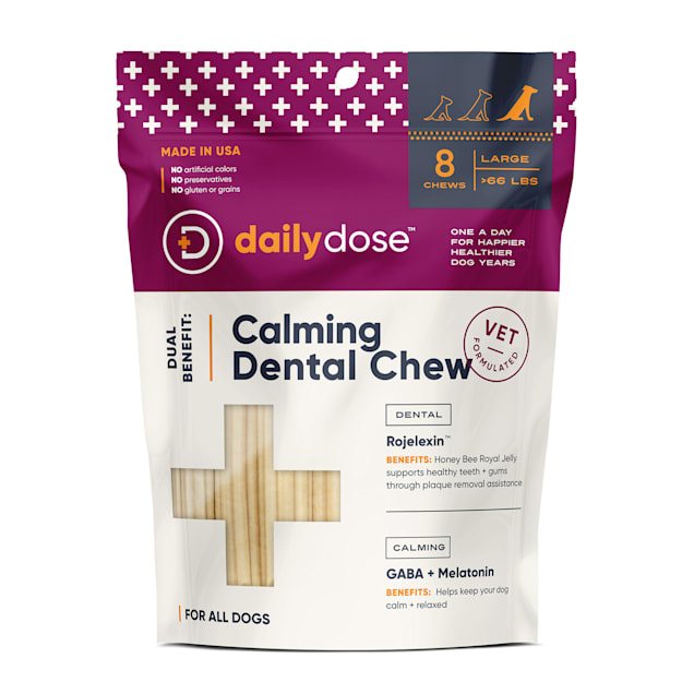 dailydose Dual Benefit Dental + Calming Chews for Large Dogs, 11.85 oz., Count of 8 - Carousel image #1