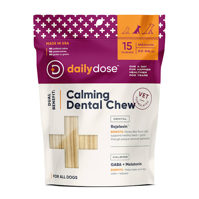 dailydose Dual Benefit Dental + Calming Chews for Medium Dogs, 11.64 oz., Count of 15 - Carousel image #1