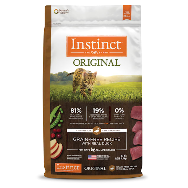 Instinct Original Grain-Free Recipe with Real Duck Freeze-Dried Raw Coated Dry Cat Food, 10 lbs. - Carousel image #1