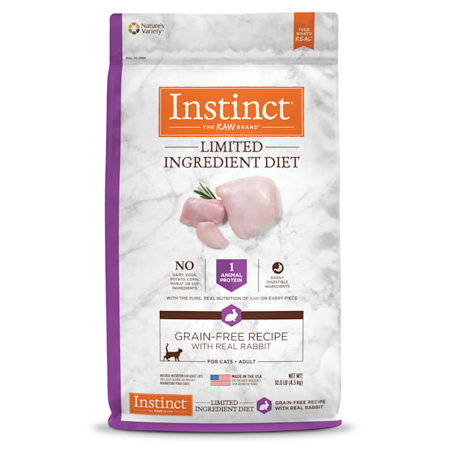 Instinct Limited Ingredient Diet Grain-Free Recipe with Real Rabbit Freeze-Dried Raw Coated Dry Cat Food, 10 lbs. - Carousel image #1