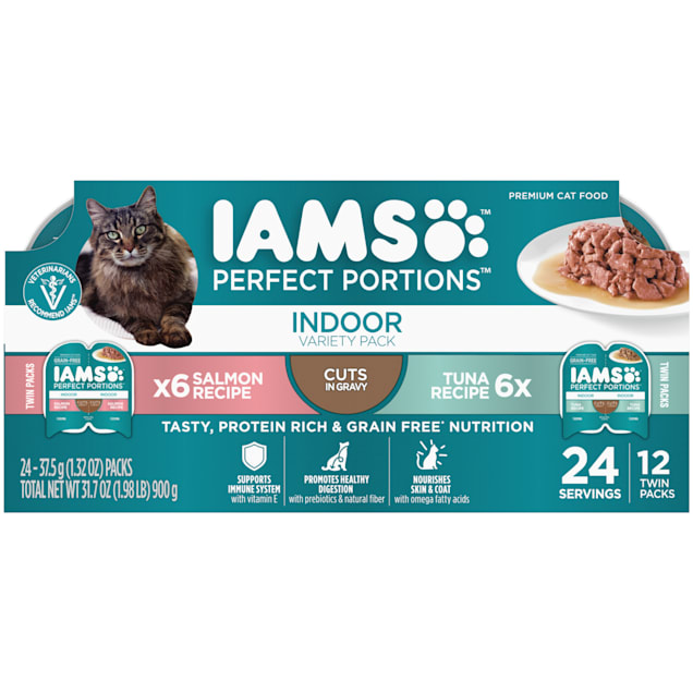 Iams Perfect Portions Tuna Recipe and Salmon Recipe Cuts in Gravy Adult Indoor Wet Cat Food Variety Pack, 2.64 oz., Count of 12 - Carousel image #1