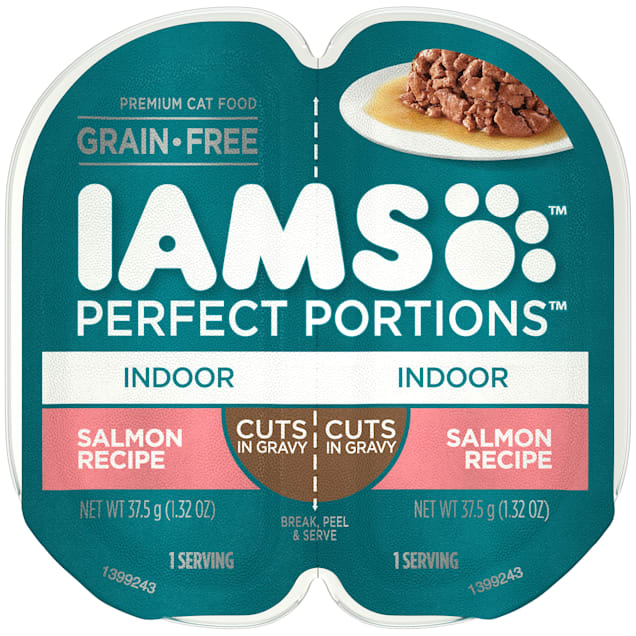 Iams Perfect Portions Grain Free Salmon Recipe Adult Indoor Wet Cat Food Twin Pack, 2.64 oz., Case of 24 - Carousel image #1