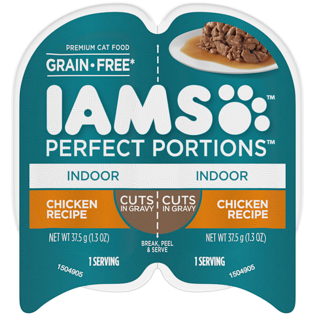 Iams Perfect Portions Grain Free Chicken Recipe Cuts in Gravy Adult Indoor Wet Cat Food, 2.64 oz., Case of 24 - Carousel image #1
