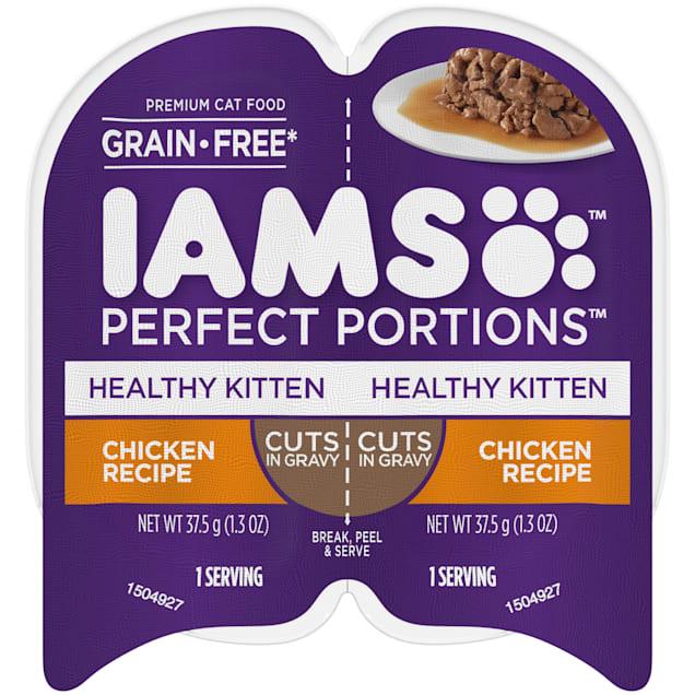 Iams Perfect Portions Grain Free Chicken Recipe Cuts in Gravy Healthy Kitten Wet Food, 2.64 oz. - Carousel image #1