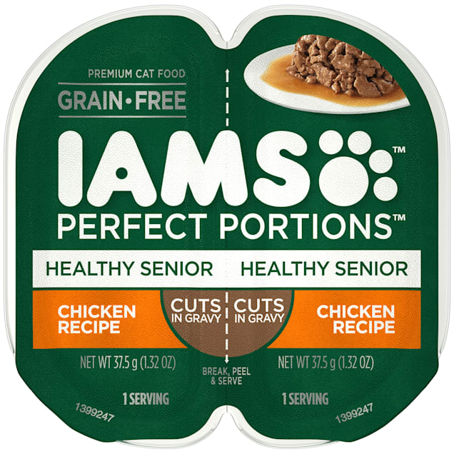 Iams Perfect Portions Grain Free Chicken Recipe Healthy Wet Cat Food Twin Pack, 2.64 oz., Case of 24 - Carousel image #1
