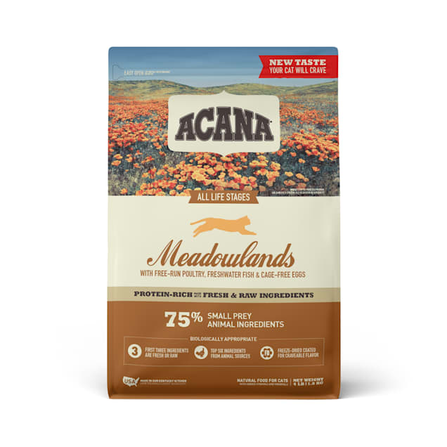 ACANA Grain-Free Meadowlands Chicken Turkey Fish and Cage-Free Eggs Dry Cat Food, 4 lbs. - Carousel image #1
