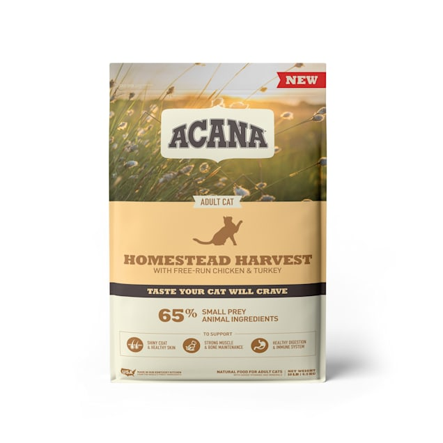 ACANA Homestead Harvest Chicken Turkey and Duck Dry Cat Food, 10 lbs. - Carousel image #1