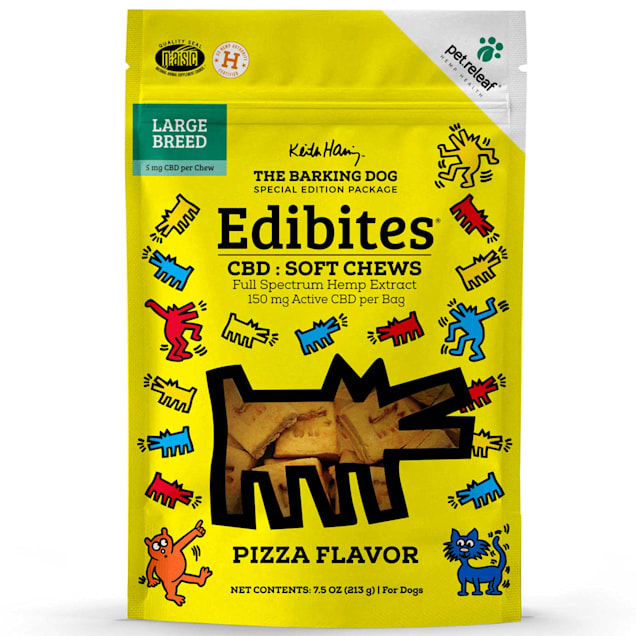Pet Releaf Special Edition Keith Haring Collection Edibites Pizza Flavor Soft Chews for Large Breed Dogs, 7.5 oz., Count of 30 - Carousel image #1