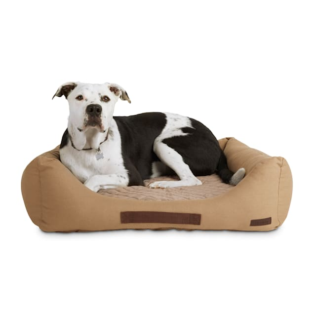 """Reddy Tan Canvas Cozy & Cool-Touch Dog Bed, 28"""" L X 28"""" W - Carousel image #1"""