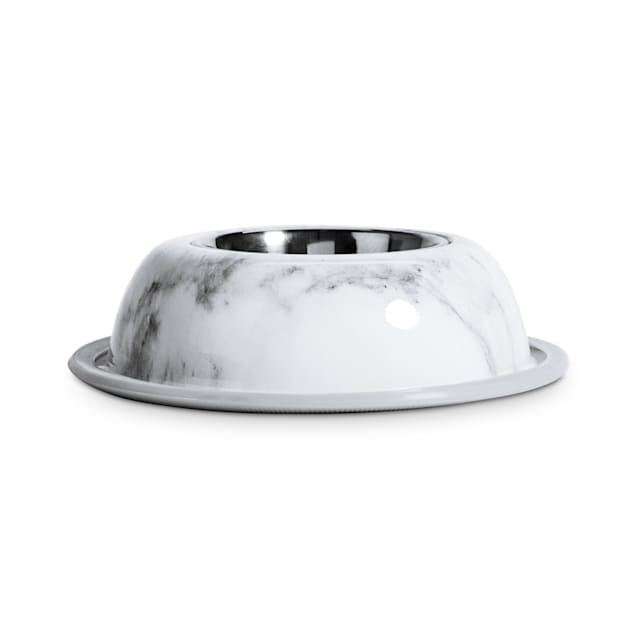 EveryYay Dining In Stainless-Steel with Marble-Printed Melamine Base Dog Bowl, 1 Cup - Carousel image #1
