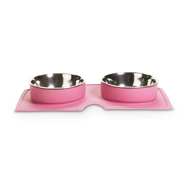 EveryYay Better Together Pink Silicone Double Diner with Stainless-Steel Bowls for Dogs, 2.1 Cups - Carousel image #1