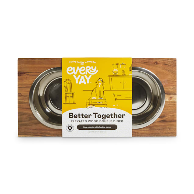EveryYay Better Together Elevated Wood Double Diner with Stainless-Steel Bowls for Dogs, 4.6 Cups - Carousel image #1