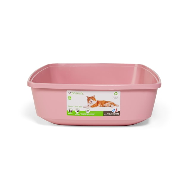 So Phresh Pink Open Cat Litter Box, X-Large - Carousel image #1