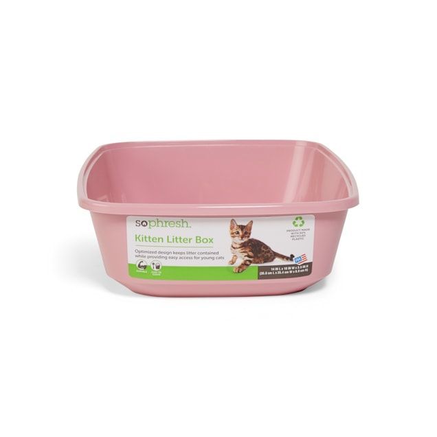 "So Phresh Pink Open Kitten Cat Litter Box, 14"" L X 10"" W X 3.5"" H - Carousel image #1"