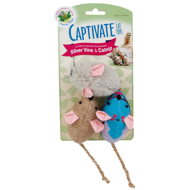 Captivate Three Fine Mice Cat Toys by Hartz - Carousel image #1